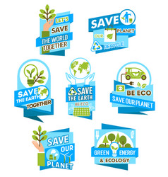 Save earth planet icon for ecology concept design vector