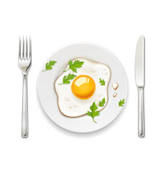 Scrambled eggs plate fork vector