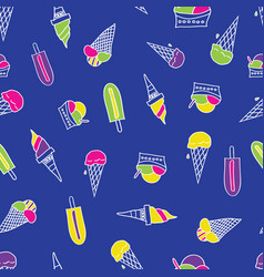 seamless pattern with different types ice cream vector image
