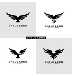 set eagle logo symbol vector image