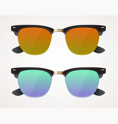 Set of sunglasses and eyeglasses wayfarer shape vector