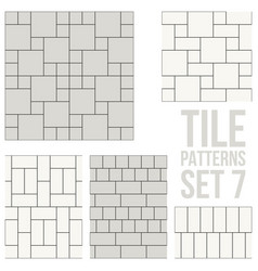 Set of thin line seamless pattern brick tile vector