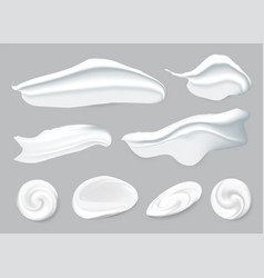 Set realistic smears cosmetic white cream vector