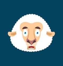 Sheep scared omg face avatar ewe oh my god emoji vector