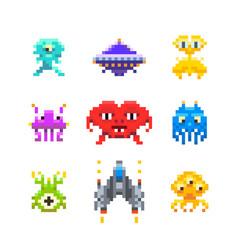 space invaders game enemies in pixel art style vector image