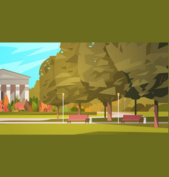 Summer city park with town building background vector