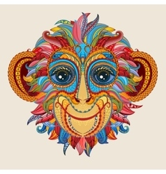 Tattoo design color head of the monkey vector image