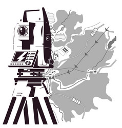 total station and map of the area for geodesy vector image