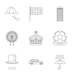 Tourism in United Kingdom icons set outline style vector