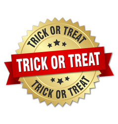 Trick or treat round isolated gold badge vector