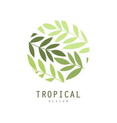 tropical logo design round badge with palm leaves vector image