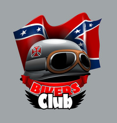 Vintage bikers club logo with confiderate vector