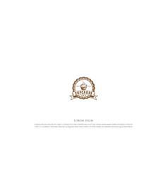 vintage retro cupcake stamp label seal logo design vector image