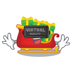 virtual reality santa sleigh with christmas vector image