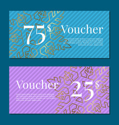 voucher on 25 -75 set of posters gold tags label vector image