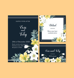 Winter bloom wedding card design with floral vector
