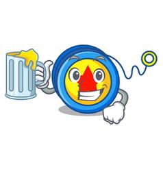 With juice yoyo mascot cartoon style vector