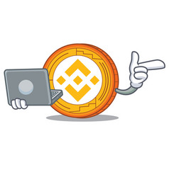With laptop binance coin character catoon vector