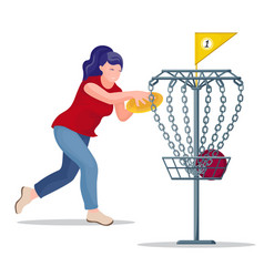 Woman throwing a frisbee disc to basket vector