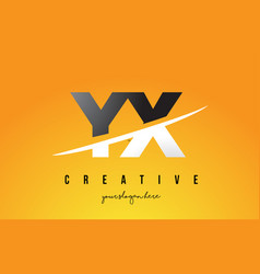 Yx y x letter modern logo design with yellow vector