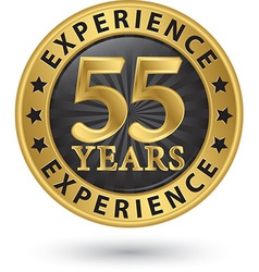 55 years experience gold label vector image