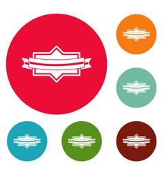 badge ribbon icons circle set vector image vector image