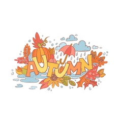 Colorful autumn doodle hand-drawn card vector image vector image