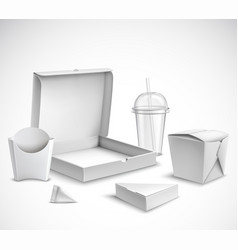 fast food packaging realistic set vector image vector image