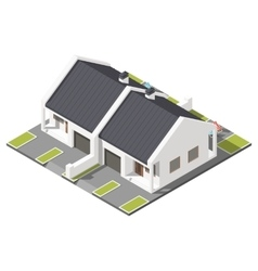 One storey connected cottage with slant roof for vector image vector image