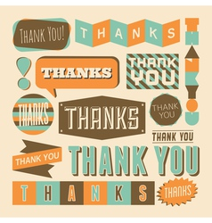 retro style thank you design elements collection vector image vector image