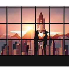 Silhouette people with Space Shuttle vector image vector image