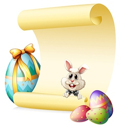 An empty paper template with a bunny and Easter vector image vector image