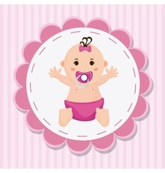 Baby girl cartoon of baby shower concept vector image vector image