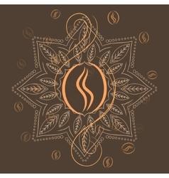 Coffee beans on henna mandala background print vector image