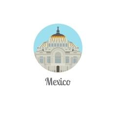 Mexico palace landmark isolated round icon vector image