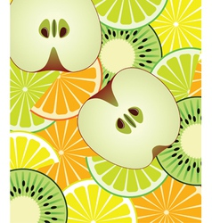 slices of citrus kiwi and apple vector image vector image