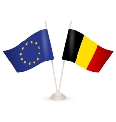 Table stand with flags of EU and Belgia vector image vector image