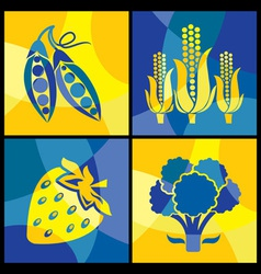 vegetables color cross vector image vector image