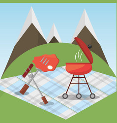 picnic grilled food blanket mountains vector image vector image