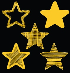 Set Of Hand Drawn Scribble Gold Stars Icon Set 3 vector image vector image