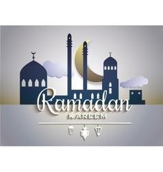 Stylish text Ramadan Kareem on paper tags with vector image