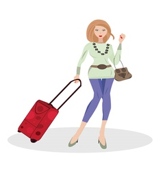woman with suitcase vector image vector image