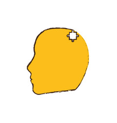 Yellow head puzzle pieces image vector