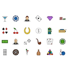 Game of chance colorful icons set vector image