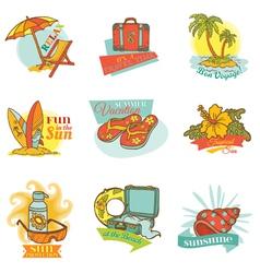 Set of Vintage Summer Labels vector image vector image