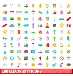 100 electricity icons set cartoon style vector