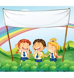 An empty banner above the three young students vector image