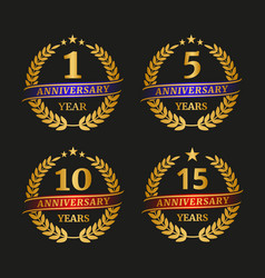 Anniversary golden laurel wreath set vector