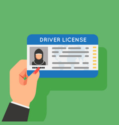 Arab woman driver license hand hold car driver vector