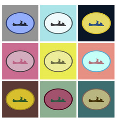 Assembly flat icons flip flops vector
